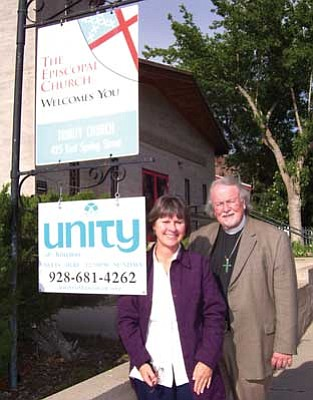 Courtesty<br /><br /><!-- 1upcrlf2 -->The Rev. Connie Van Sant, Unity minister, and Fr. Phil Shaw from Trinity Episcopal Church.