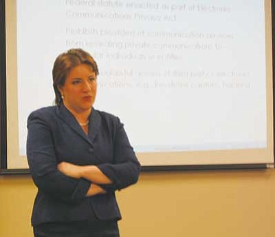 AHRON SHERMAN/Miner<br /><br /><!-- 1upcrlf2 -->Laura Robertson explains social media labor law at a Northwest Arizona Human Resources Association conference Thursday.<br /><br /><!-- 1upcrlf2 -->