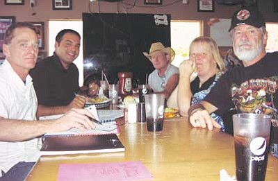 AHRON SHERMAN/Miner<br /><br /><!-- 1upcrlf2 -->Several 9/11-memorial organizers gathered at Castle Rock Bar & Grill. From left: Castle Rock General Manager William Town, owner Peter Cimino and organizers Bill Watkins, Sherry White and Mike Breighner.<br /><br /><!-- 1upcrlf2 -->
