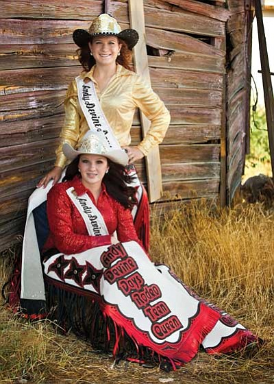 lj holloway photography/Courtesy<br /><br /><!-- 1upcrlf2 -->Andy Devine Days Rodeo Queen Samantha Miles (standing) and Teen Queen Alexis Timm will hand over their crowns and chaps this Sunday. The girls will keep their honorary belt buckles and Miles will keep the Queen horse saddle.