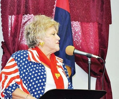 Butch Meriwether/Courtesy<br /><br /><!-- 1upcrlf2 -->Sandi Reynolds announced that she is no longer running for the Board of Supervisors Saturday at a candidate meet and greet event held by the Mohave County Republicans in Golden Valley.