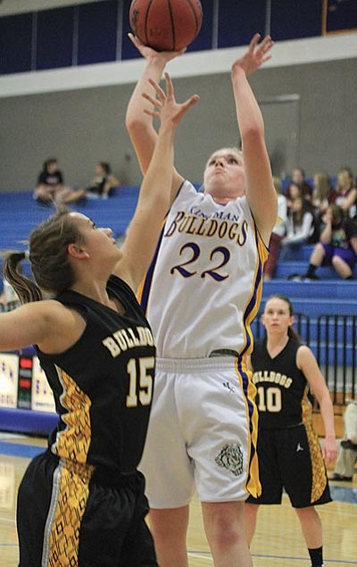 JC AMBERLYN/Miner<br> KHS's Rachel Arave goes up for a shot during the Lady Bulldogs' 66-45 loss to Phoenix Barry Goldwater Tuesday. Arave ended the night with 12 points.
