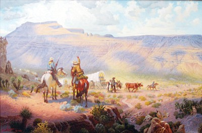 SUZANNE ADAMS/Miner<br> Lincoln at Rest: One of Lucas' last paintings was of a mountain horizon outline near Coyote Pass that looks like Abraham Lincoln's face in profile. The work was commissioned by Dr. John Lingenfelter and hangs in the Lingenfelter Center along with several prints of Lucas' other paintings.