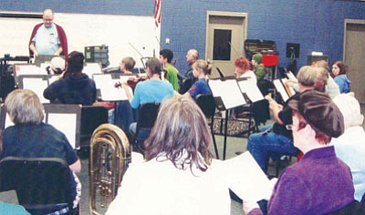 """Courtesy<br> The Mohave Community Choir and Mohave Community Orchestra rehearse for their holiday-themed """"Christmas Harmony"""" show Saturday."""