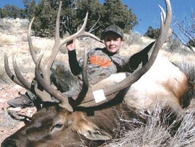 Courtesy<br /><br /><!-- 1upcrlf2 -->Jake Cave of Kingman bagged this big 6 X 6 bull while hunting on a general hunt in Unit 10, north of Seligman. <br /><br /><!-- 1upcrlf2 --><br /><br /><!-- 1upcrlf2 -->