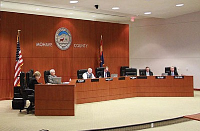 JC AMBERLYN/Miner<br><br> The Board of Supervisors listens to suggestions from the public about what to do with the Arnold Plaza Building Tuesday. The Board has authorized staff to award a contract to tear the building down.