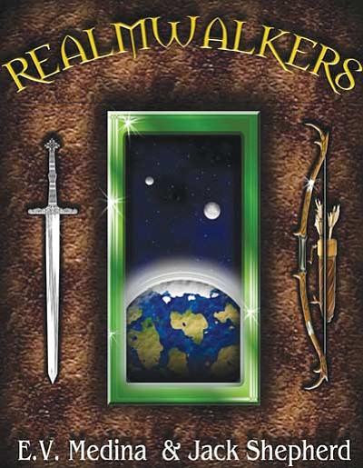 "Courtesy<br> ""Realmwakers"" cover designed by Elva V. Medina."
