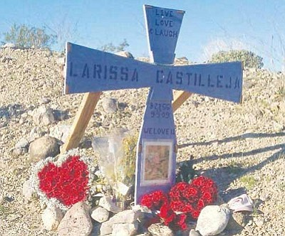 Courtesy<br /><br /><!-- 1upcrlf2 -->The roadside memorial for Larissa Castilleja before it was damaged.