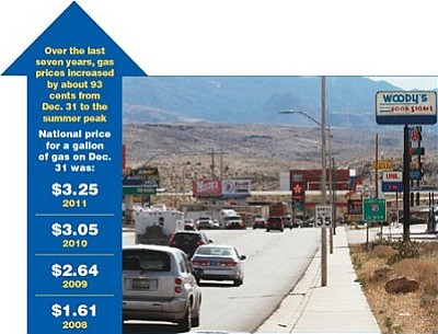 JC AMBERLYN/Miner<br> Gas prices along Beale Street in downtown Kingman are closing in on $4 a gallon.