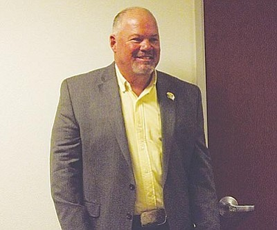 AHRON SHERMAN/Miner<br /><br /><!-- 1upcrlf2 -->Mayor John Salem taking it all in after learning he will serve another term as Kingman's mayor.<br /><br /><!-- 1upcrlf2 --><br /><br /><!-- 1upcrlf2 -->