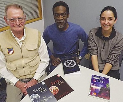 AHRON SHERMAN/Miner<br /><br /><!-- 1upcrlf2 -->Three of the five authors participating in the upcoming local authors panel at the Mohave County Library in Kingman. From left: James Dailey, Daryl Edwards and Alexandra Livingston.