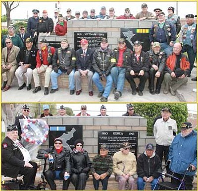 Vietnam War veterans (top) and Korean War veterans at their memorials.