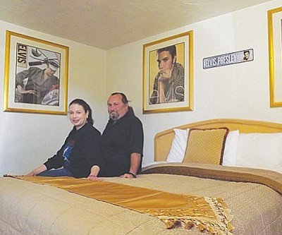 AHRON SHERMAN/Miner<br /><br /><!-- 1upcrlf2 -->El Trovatore owners Monica and Sam Frisher sit in the Elvis Presley-themedroom. There are 19 other themed rooms, and the couple has plans for more in the future.<br /><br /><!-- 1upcrlf2 --><br /><br /><!-- 1upcrlf2 -->