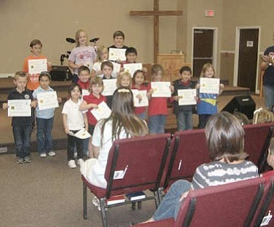 ROBIN MAUSER/Miner<br /><br /><!-- 1upcrlf2 -->Students at Emmanuel Christian Academy receive their Principal's List recognition awards last fall.<br /><br /><!-- 1upcrlf2 --><br /><br /><!-- 1upcrlf2 -->