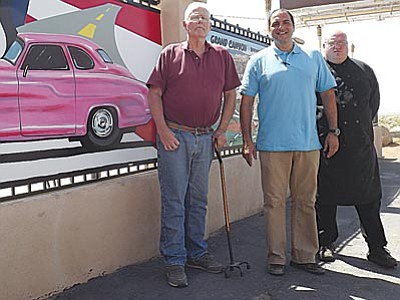 AHRON SHERMAN/Miner<br> Castle Rock Bar & Grill Event Center owner Peter Cimino (middle) – outside of the Center's patio and outdoor stage – flanked by long-time family friends, Dave Thompson and Mike Smith, who've come from Illinois to assist Cimino with growing the business.