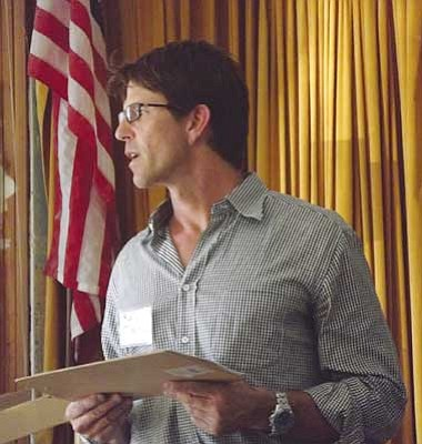 AHRON SHERMAN/Miner<br /><br /><!-- 1upcrlf2 -->Sierra Resource Group CEO Rod Martin addresses some of the concerns voiced by several people who attended the Wednesday town hall meeting in Chloride.