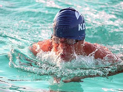 RODNEY HAAS/Miner<br> Marco Narvarte works on his breaststroke technique during the Kingman Dolphins Swim-o-rama on June 12 at Centennial Park pool. Narvarte placed first in three events for the Dolphins last weekend in Bullhead City.