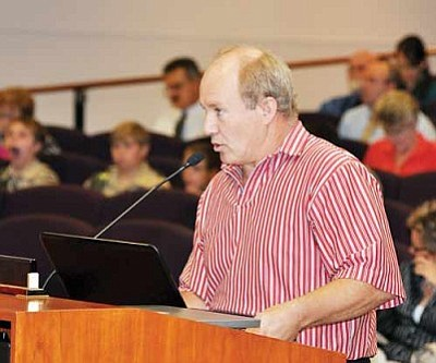 Butch Meriwether/Courtesy<br /><br /><!-- 1upcrlf2 -->Golden Valley resident Steven Robinson grills the Board of Supervisors about the county's secondary taxing districts Monday. <br /><br /><!-- 1upcrlf2 --><br /><br /><!-- 1upcrlf2 -->