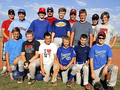 RODNEY HAAS/Miner<br> Members of the Kingman North Junior's All Star team are: Front row from left, Anthony Avitabile, Colton Stanley, Michael Mendola, Noah Weiler, Kyle Henson and Josh Tefft. Middle row from left, Ivan Avalos, Josh Allen, Eric Venenga, Bobyn Petersen, Levi Hatch. Back row from left, coaches Josh Henson, Cal Allen, John Venenga (manager), and Jerry Palazzolo.