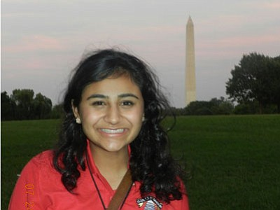 Courtesy<br> Kingman's Aisha Subhan poses with the Washington Monument in the background.