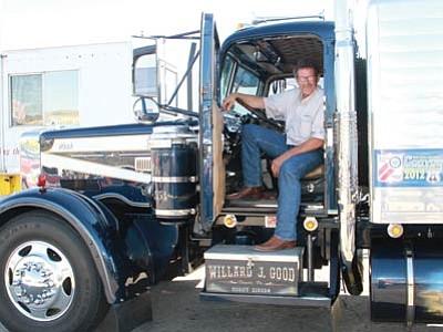 JC AMBERLYN/Miner<br> Willard J. Good, of Denver, Pa., in his 1954 LT Mack truck.