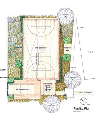 Courtesy<br /><br /><!-- 1upcrlf2 -->This proposed addition to the VA hospital in Prescott includes an outdoor handball court and an outdoor multi-use court for sports such as basketball and volleyball.