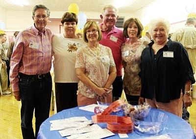 JC AMBERLYN/Miner<br> The Mohave County Union High School class of 1962 met at the Old Elks Building Friday night for an evening of meeting old friends and memories. Reunion committee members from left are Grover Thomas, Mary Jane Hobbs Pattillo, Corliss Markee Foley, Joe Hart, Mary Jane Rutherford Tylor and Patsy Stone Voigt.  Chuck Cook, not pictured, was also on the committee.