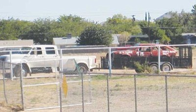 """ERIN TAYLOR/Miner<br /><br /><!-- 1upcrlf2 -->A scramble car sits at the Mohave County Fairgrounds Thursday in anticipation of this weekend's """"Test and Tune"""" for the Kingman Krunch.<br /><br /><!-- 1upcrlf2 -->"""