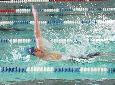 JC AMBERLYN/Miner<br /><br /><!-- 1upcrlf2 -->Kingman High swimmer Paul Yingling competes in the 100-yard backstroke earlier this week at Del Webb Wellness Center.