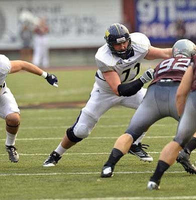 NAU/Courtesy <br /><br /><!-- 1upcrlf2 -->Kingman High graduate Trey Gilleo started every game this fall for Northern Arizona and graduated in December with a degree in criminal justice. <br /><br /><!-- 1upcrlf2 -->