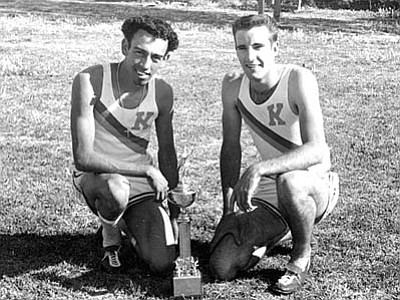 Photo Courtesy of the Mohave County Museum<br>  Frankie Esquibel, left and Tom McCraley. Combined they broke six records in the running events at the Northern Arizona Championship in 1958.