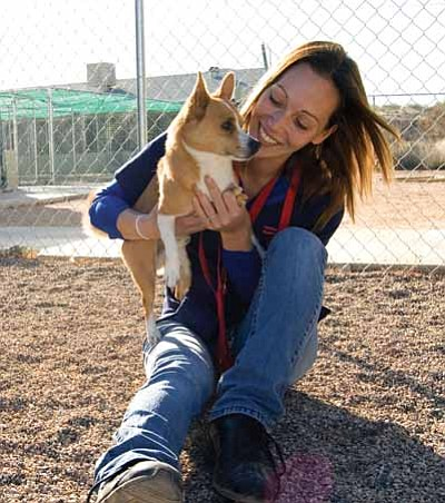SUZANNE ADAMS-OCKRASSA/Miner<br> Samantha Craig from the Western Arizona Humane Society plays with one of the many dogs hoping to be adopted at the Kingman shelter at 950 Buchanan St.