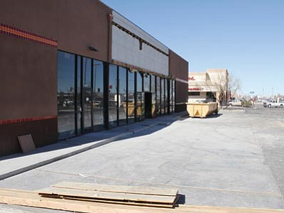 JC AMBERLYN/Miner<br> Extensive remodeling is under way inside and out at this building that once housed a Blockbuster Video franchise on Stockton Hill Road. It will soon house a Chipotle Mexican Grill, Five Guys Burgers and Fries and a third as-yet unidentified vendor.