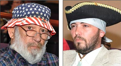 BUTCH MERIWETHER/Special to the Miner<br> Golden Valley residents Jim Kanelos, left, and Rocky Sapp were free to wear hats at the Mohave County Board of Supervisors meeting after an unpopular dress code was voted out. A decision on removing the security checkpoint, top, at the Mohave County Administration Building is pending.