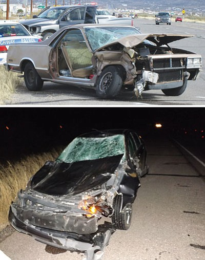 TOP: Two people were taken to the hospital following a crash Sunday on Highway 68 in front of the Texaco station. BOTTOM: On Saturday night, a man struck two cows with his car, which was totaled.