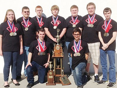 Courtesy<br /><br /><!-- 1upcrlf2 -->Showing off their trophy and various individual medals is the 2012-2013 KAOL academic decathlon team. Back row (from left): Allison Lambert, Dakota Estensen, Jacob Mouritsen, Noah Lucier, Charlie St. Clair, Clayton Wilson and Dillon Harris. Front row: Trent Szabo and David Vega.<br /><br /><!-- 1upcrlf2 -->