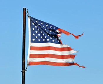 This flag is a prime example of residents wanting to show their American Spirit and pride in our Nation by flying the Stars and Stripes, but forgetting to take it down when its condition becomes not fit to be flown. It is conservatively estimated that more than half of the American flags being flown in Mohave County should have already been replaced due to being worn and tattered.