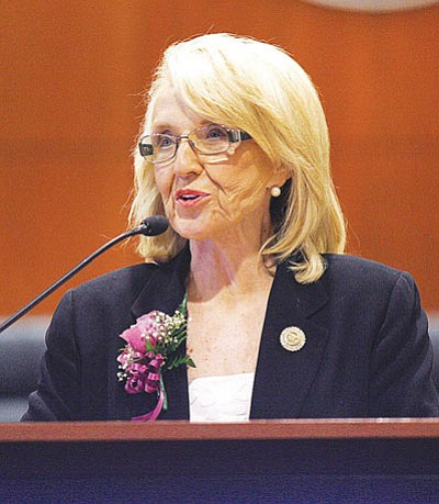 Gov. Jan Brewer campaigned for her Medicaid legislation in Mohave County Wednesday, arguing that opposing it simply because the Affordable Care Act is involved isn't good for the state.<BR>RODNEY HAAS/Miner