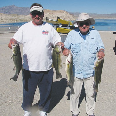 Dave Hilton and his father show some of the bass they caught at the Kingman Bass Club's tournament at Temple Bar on Lake Mead. The team checked in five largemouth bass that weighed 18.2 pounds and included the big fish of the tournament,  which weighed 4.71 pounds.<br>ART FULLER/Courtesy