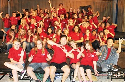 The Cerbat Elementary School's Drama Club poses after a dress rehearsal Thursday.<BR>JC AMBERLYN/Miner