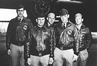 Crew No. 1: 34th Bombardment Squadron, front row: Lt. Col. James H. Doolittle, pilot; Lt. Richard E. Cole, copilot; back row: Lt. Henry A. Potter, navigator; Staff Sgt. Fred A. Braemer, bombardier; and Staff Sgt. Paul J. Leonard, flight engineer/gunner.  (Pacific Air Forces Photo)