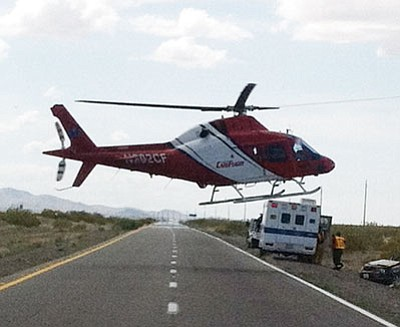 Emergency crews responded to a one-vehicle rollover accident Wednesday on U.S. 93.<BR>Courtesy