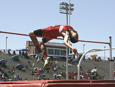 Lee Williams High School's Giancarlo Narvarte, a freshman, placed in the top 10 high jumpers at this year's state track meet.<BR>RODNEY HAAS/Miner