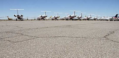 JC AMBERLYN/Miner<br /><br /><!-- 1upcrlf2 -->The normally flat south field of the Kingman Airport has several cracks and pock marks that worsen after rainfall.