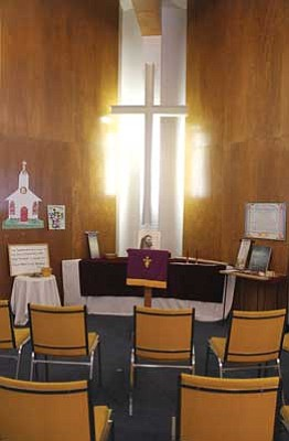 JC AMBERLYN/Miner<br /><br /><!-- 1upcrlf2 -->Kingman Presbyterian Church is going to spend a year celebrating its 50th anniversary. Pictured is the church's old chapel, which is now a children's area.<br /><br /><!-- 1upcrlf2 -->