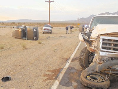 Courtesy<BR> Ten people riding in four vehicles were involved in a chain-reaction crash Thursday during a dust storm.