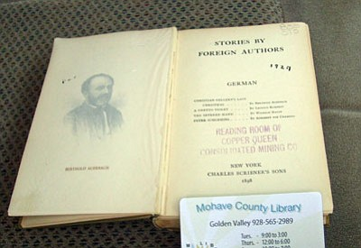 """The Friends of the Golden Valley Library is sending an 1898 edition of a book called """"Stories by Foreign Authors German"""" to best-selling author J.A. Jance, who wrote a mystery series based in Cochise County in Arizona. It is stamped """"Reading Room of Copper Queen Consolidated Mining Co."""" The father of the series' protagonist, Sheriff Joanna Brady, worked at the mining company in the books. (Courtesy)"""