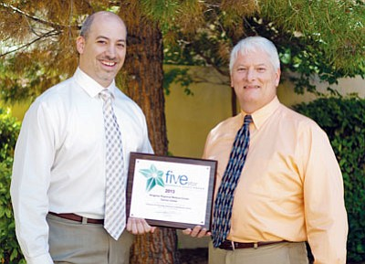 Courtesy<br> Pictured from left are Robert LoBue, director of the KRMC Cancer Center, and Joseph Stephens, case manager for the KRMC Cancer Center.