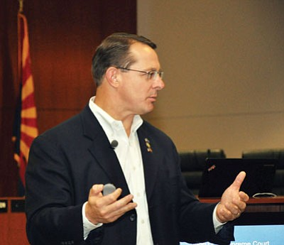 BUTCH MERIWETHER/Courtesy<BR> American Lands Council President Ken Ivory speaks at a town hall meeting in Kingman Friday.