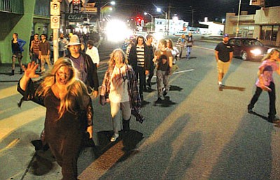 """JC AMBERLYN/Miner<BR> Almost a hundred """"zombies"""" invaded the streets of downtown Kingman last year during the first Zombie Outbreak Walk."""